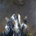 La Lune, le Soleil des Loups 1 - 2007 - Huile sur toile préparée au médium à base de sable - 155 x 120 cm