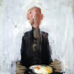 Les œufs au plat - 2007 - Huile sur toile préparée au médium à base de sable - 81 x 65 cm