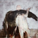 Homme au cheval - 2007 - Huile sur toile préparée au médium à base de sable - 60 x 73 cm