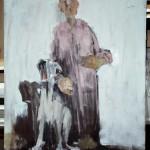 Femme aux chiens - 2007 - Huile sur toile préparée au médium à base de sable - 100 x 81 cm