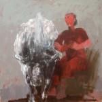 Au pré - 2008 - Huile sur toile préparée au médium à base de sable - 120 x 120 cm