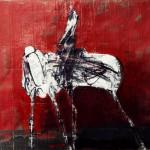 Cavalier - 1997 - Huile sur toile préparée au médium à base de sable - 33 x 41 cm