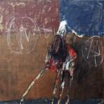 Manège - 1997 - Huile sur toile préparée au médium à base de sable - 50 x 50 cm