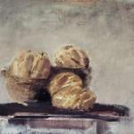 Boules de pain - 1997 - Huile sur toile préparée au médium à base de sable - 81 x 100 cm