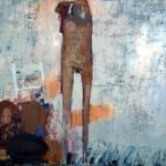 Nu à sa toilette - 1997 - Huile sur toile préparée au médium à base de sable - 114 x 146 cm