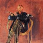 Homme au chien - 1998 - Huile sur toile préparée au médium à base de sable - 73 x 60 cm