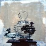 Panier et leurres - 1999 - Huile sur toile préparée au médium à base de sable - 60 x 60 cm