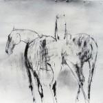 Chevaux - 2000 - Fusain sur papier préparé à l'acrylique sur médium à base de sable - 50 x 65 cm
