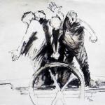Charrette - 2001 - Huile sur toile préparée au médium à base de sable - 130 x 162 cm