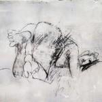 Nu érotique - 2001 - Fusain sur papier préparé à l'acrylique sur médium à base de sable - 50 x 65 cm