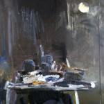 Nocturne à l'atelier - 2002 - Huile sur toile préparée au médium à base de sable - 195 x 130 cm