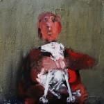 La dame au chien - 2002 - Huile sur toile préparée au médium à base de sable - 60 x 60 cm