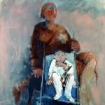 Femme à la poussette - 2003 - Huile sur toile préparée au médium à base de sable - 146 x 114 cm