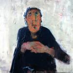 La femme au verre - 2004 - Huile sur toile préparée au médium à base de sable - 76 x 56 cm