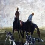 Les chiens dans la plaine - 2004 - Huile sur toile préparée au médium à base de sable - 100 x 81 cm