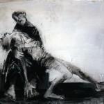 Pietà - 2004 - Fusain sur papier préparé à l'acrylique sur médium à base de sable - 50 x 65 cm
