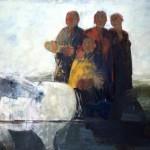 Tous derrière et lui devant - 2005 - Huile sur toile préparée au médium à base de sable - 130 x 195 cm