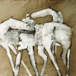 Homme et chevaux - 1993 - Gouache sur papier texturé