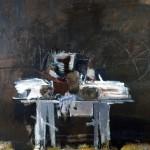 Palette blanche - 1994 - Huile sur toile préparée au médium à base de sable - 130 x 162 cm