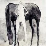 Nu et cheval - 1995 - Fusain et lavis sur papier - 50 x 65 cm - Collection particulière