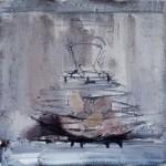 Pas tous les œufs dans le même panier - 1995 - Huile sur toile préparée au médium à base de sable - 50 x 50 cm
