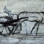 La carriole - 1995 - Fusain sur papier préparé à l'acrylique sur médium à base de sable - 50 x 65 cm