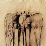 Hommes et chevaux - 1995 - Fusain sur papier - 50 x 65 cm