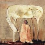 Nu et cheval blanc - 1996 - Huile sur toile préparée au médium à base de sable - 46 x 55 cm