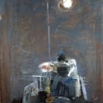 Nocturne à l'atelier - 1996 - Huile, craie grasse et fusain sur toile préparée au médium à base de sable - 195 x 130 cm