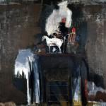 Objets à la cheminée - 1996 - Huile sur toile préparée au médium à base de sable - 150 x 150 cm