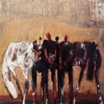Hommes et chevaux - 1996 - Huile sur toile préparée au médium à base de sable - 60 x 73 cm