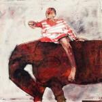 Enfant et cheval - 1996 - Huile sur toile préparée au médium à base de sable 40 x 40 cm