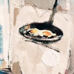 Œufs au plat - 1981 - Huile sur toile - 41 x 24 cm