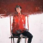 La femme en rouge - 1982 - Huile sur toile - 61 x 50 cm
