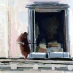 La femme au balcon - 1982 - Huile sur toile - 100 x 100 cm