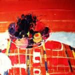 La nappe à carreaux rouges - 1969 - Huile sur toile - 46 x 55 cm