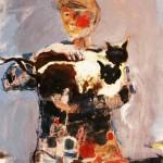 La femme au chat - 1974 - Huile sur toile - 100 x 81 cm