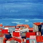 La plage de Nice - 1972 - Huile sur toile - 73 x 60 cm