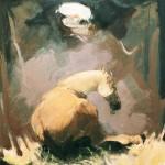 Dans le box - 1976 - Huile sur toile - 92 x 73 cm