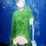 Femme au chat blanc - 1971 - Huile sur toile - 65 x 54 cm