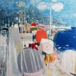 Plage de Nice - 1970 - Huile sur toile - 100 x 100 cm