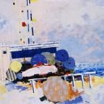 Plage de Nice - 1984 - Huile sur toile - 100 x 100 cm