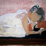 Femme au chat - 1986 - Huile sur toile - 20 x 30 cm