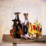 Carafes de bistrot - 1986 - Huile sur toile - 50 x 50 cm