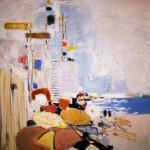 Plage de Nice - 1987 - Huile sur toile - 100 x 100 cm