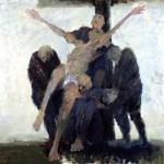 Déposition - 2005 - Huile et fusain sur toile préparée au médium à base de sable - 180 x 180 cm