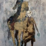 Le cavalier et la mort - 2008 - Huile, acrylique, craie grasse et fusain sur toile préparée au médium à base de sable - 195 x 130 cm - Toile inachevée